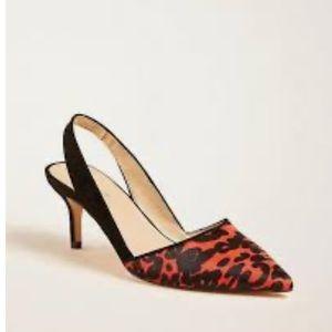 ANN TAYLOR Calf Hair Animal Print Slingback Shoes